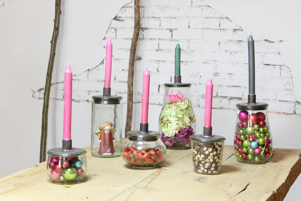 Kerzenleuchter -  Deckel für Einmachgläser