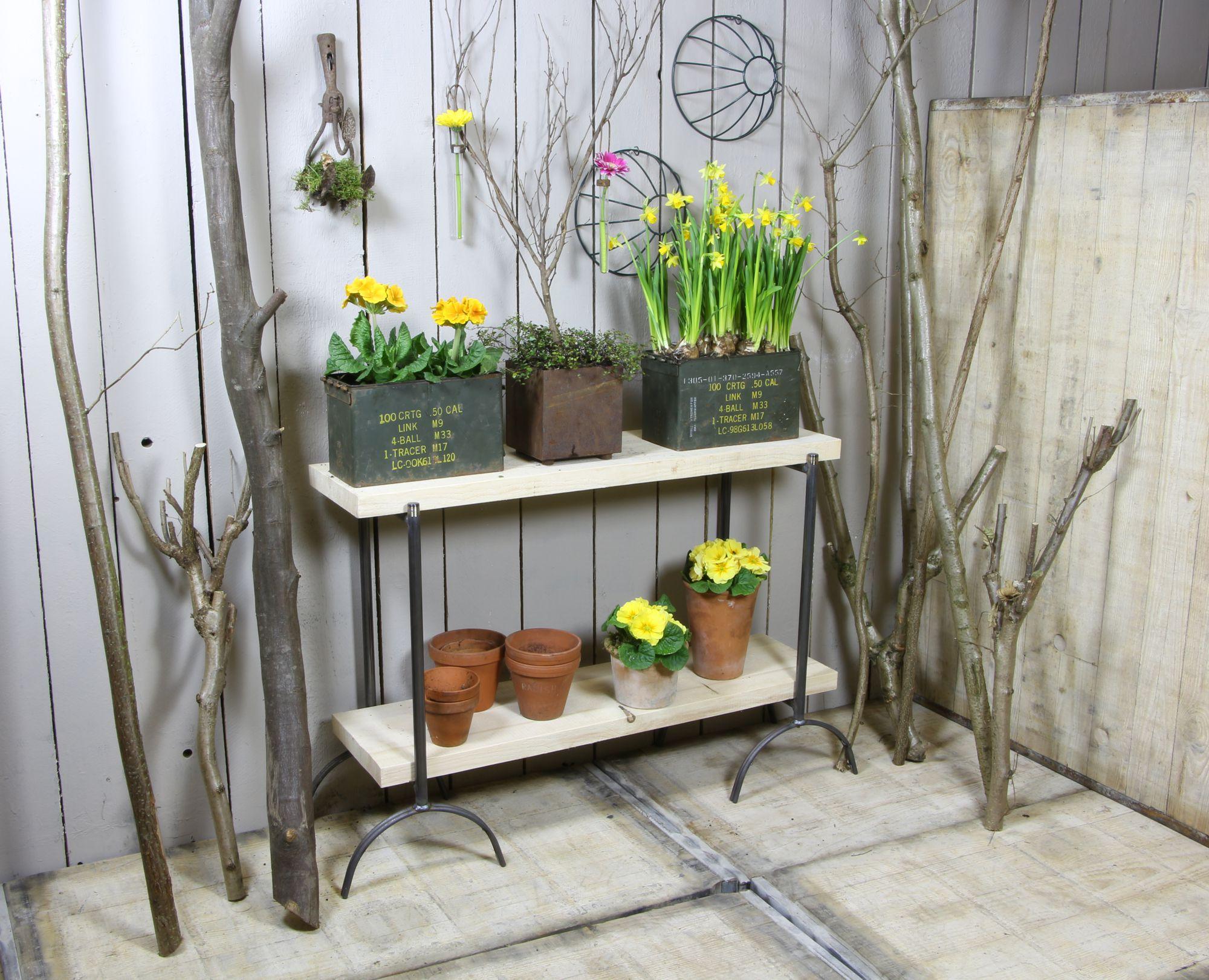 """Blumenbank """"hoch"""" 71 cm - komplett mit Holz"""